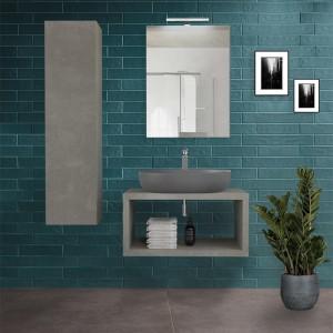 Mobile Bagno Aperto Moderno Sospeso Color Grigio Cemento da 80 cm