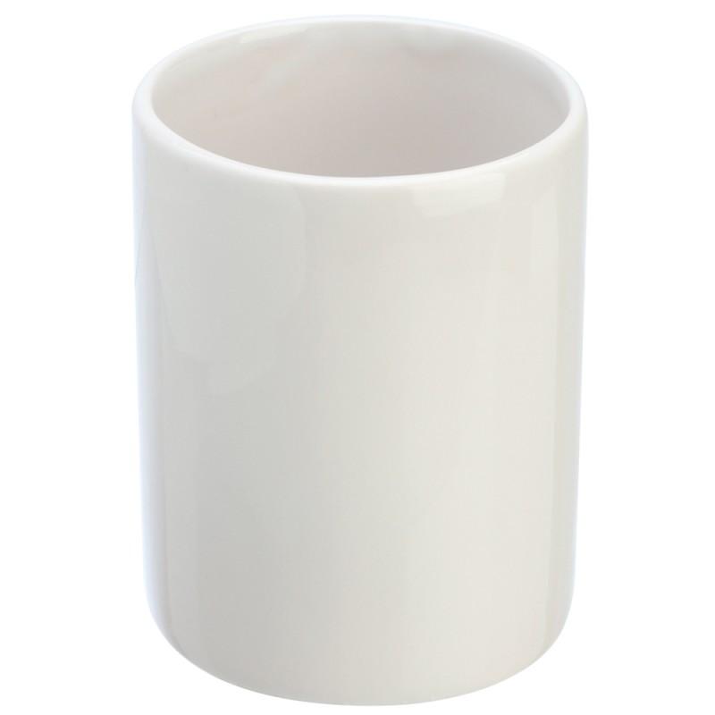 Portaspazzolino in Ceramica Bianco Da Appoggio