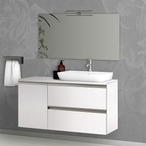 Mobile Bagno Sospeso 120 cm Bianco Opaco con Anta Reversibile