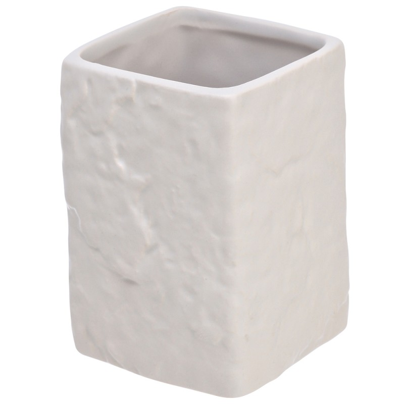Portaspazzolino Moderno In Ceramica Bianco D' Appoggio
