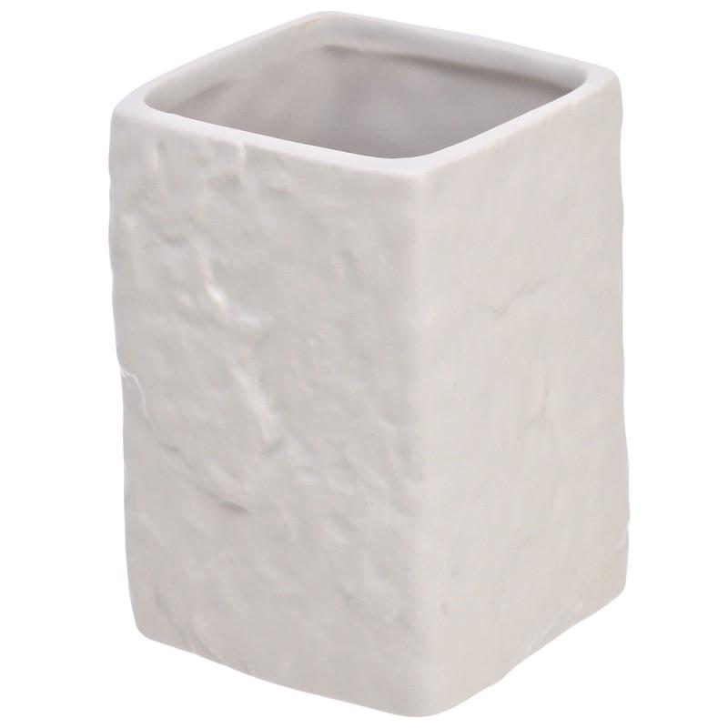 Portaspazzolino in Ceramica Bianco Linea Petra