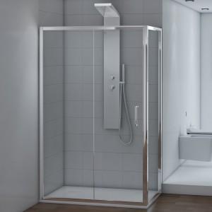 Box doccia 70x90 rettangolare fisso + scorrevole vetro trasparente 6 mm