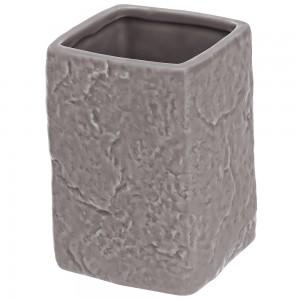 Portaspazzolino in Ceramica Grigio Linea Petra