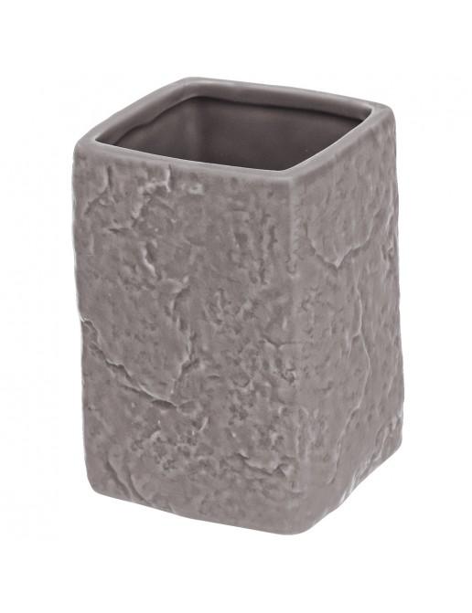 Portaspazzolino Moderno In Ceramica Grigio D' Appoggio