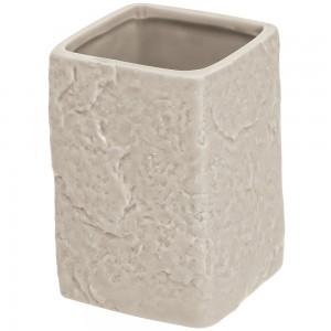 Portaspazzolino Moderno In Ceramica Beige D' Appoggio Effetto Pietra