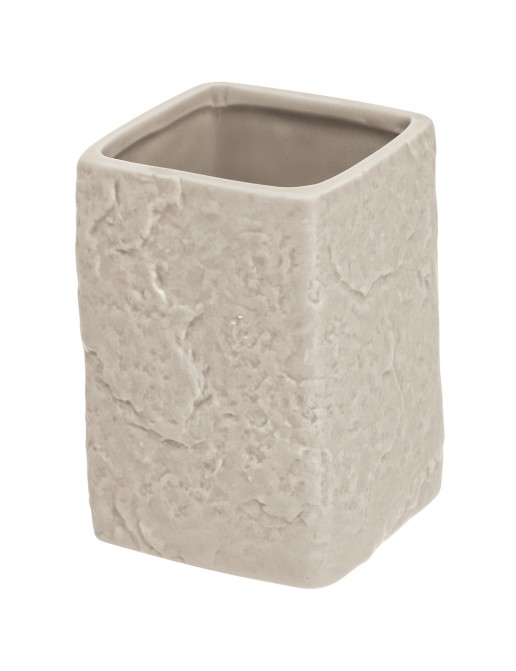 Portaspazzolino in Ceramica Beige Linea Petra