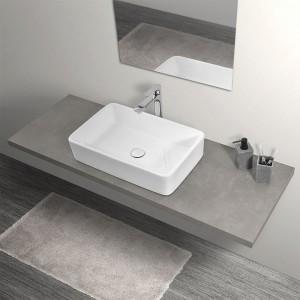 Mensolone Effetto Legno Grigio Cemento per Lavabi da Appoggio da 110 cm