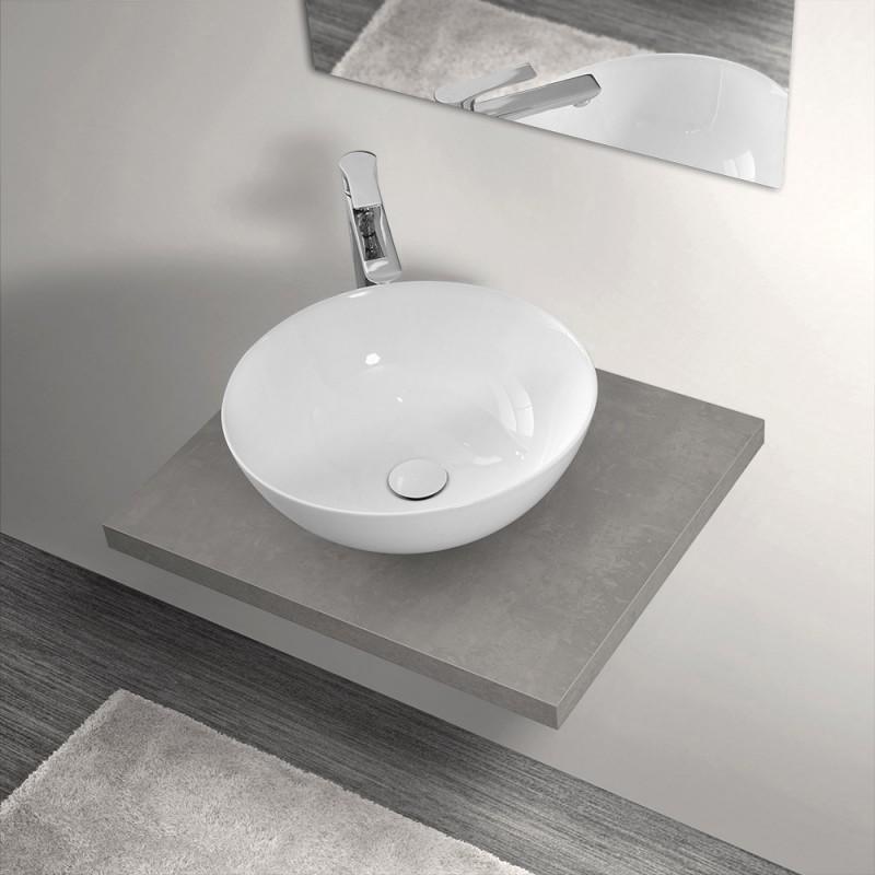 Mensola Portalavabo Grigio Cemento per Lavabi da Appoggio da 60 cm