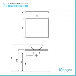 Mensola Portalavabo Grigio Cemento per Lavabi da Appoggio da 60 cm Inbagno - 4