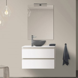 Mobile Bagno Sospeso 80 cm bianco Opaco con Lavabo da Appoggio