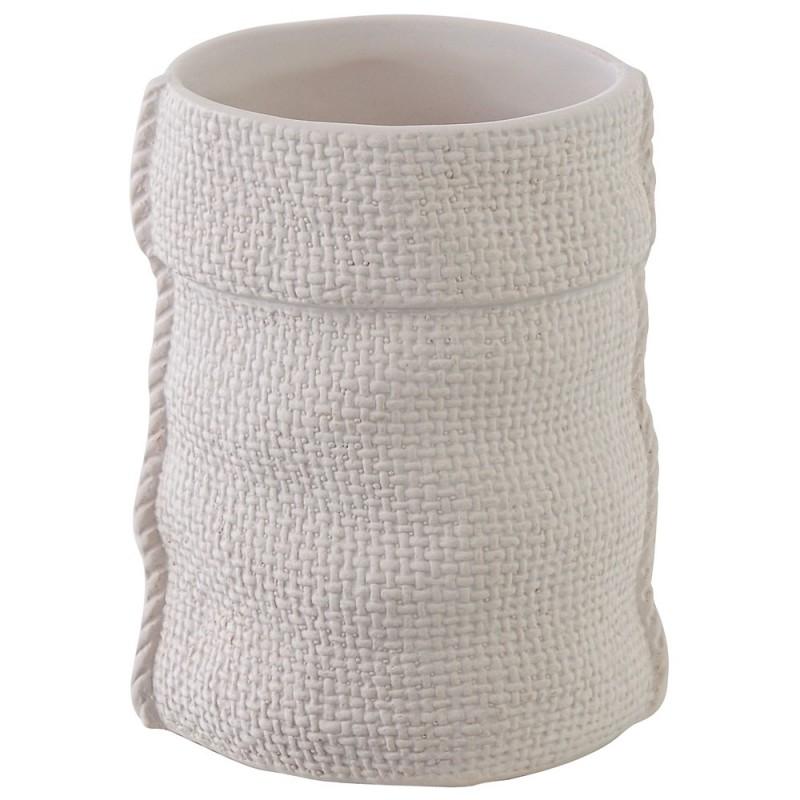 Portaspazzolino in Ceramica Bianco Linea Sacco