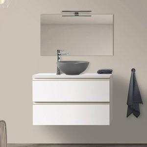 Mobile Bagno Sospeso 100 cm Bianco Opaco con Lavabo da Appoggio