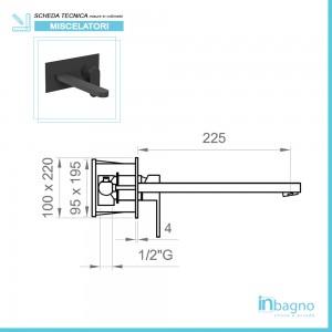Misure Miscelatore a Incasso per Lavabo con canna da 22,5 cm