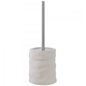Portascopino in Ceramica e Acciaio Bianco Linea Sacco