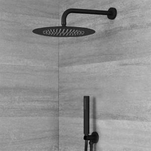 Braccio Doccia Tondo 35 cm in Ottone Nero Opaco Moderno