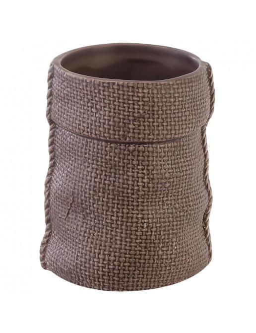 Portaspazzolino in Ceramica Grigio Linea Sasso
