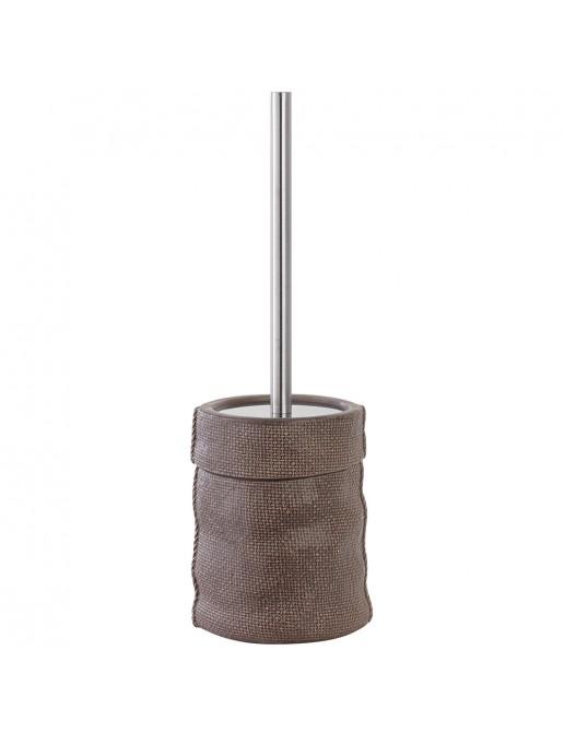 Portascopino in Ceramica e Acciaio Grigio Linea Sacco