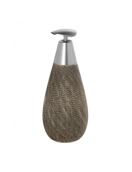 Dispenser Sapone in Ceramica e Acciaio Grigio Linea Safari