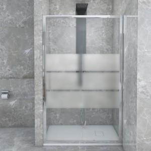 Porta Doccia Scorrevole per Nicchia in Vetro Serigrafato 120 cm