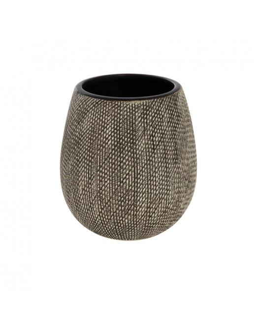 Portaspazzolino In Ceramica Marrone Da Appoggio Con Gusto Etnico