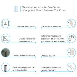 Caratteristiche Box Doccia Angolare 70x90 cm