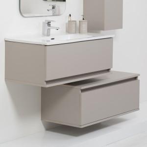 Mobile Bagno Sospeso Tortora L. 90 cm Completo di Specchio Feridras - 4
