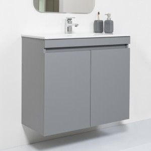 Mobile Sospeso Bagno Moderno 2 Ante Grigio L.80 cm con Specchio Feridras - 8