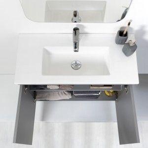 Mobile Sospeso Bagno Moderno 2 Ante Grigio L.80 cm con Specchio Feridras - 9