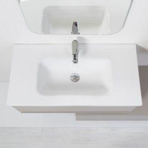 Mobile Bagno Sospeso Tortora L. 90 cm Completo di Specchio Feridras - 8