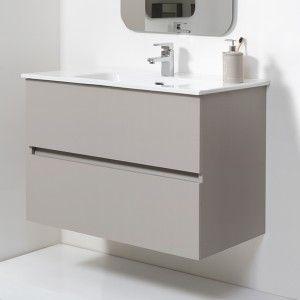 Mobile Bagno Sospeso Tortora Pastello 90x47 Arredo Moderno con Specchio Feridras - 10