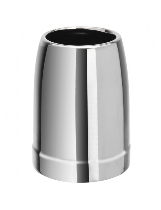 Portaspazzolino in Ceramica Effetto Cromato Moderno da Appoggio