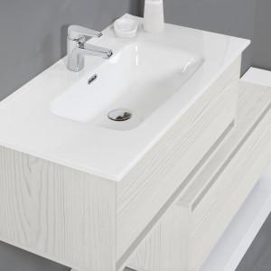 Mobile Bagno Sospeso 90 cm Effetto Legno Bianco 1 Cassetto Feridras - 3