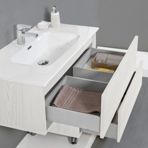 Mobile Bagno Sospeso 90 cm Effetto Legno Bianco 1 Cassetto Feridras - 4