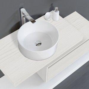 Mensola Bagno 90 cm pino bianco con Ciotola in ceramica bianco lucido Feridras - 8