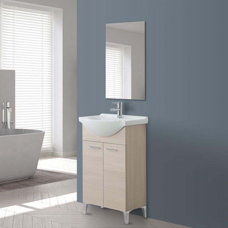 Mobile bagno in legno Larice a 2 ante con lavabo e specchio incluso L.56