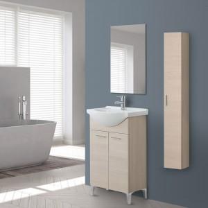 Mobile Bagno in legno Larice 2 Ante con Lavabo e Specchio Incluso L.56 cm Feridras - 2