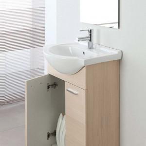 Mobile Bagno in legno Larice 2 Ante con Lavabo e Specchio Incluso L.56 cm Feridras - 4