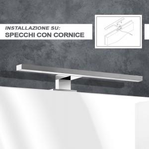 misure Lampada LED 50 cm Universale per Specchio a Filo o Pannello in abs Cromo