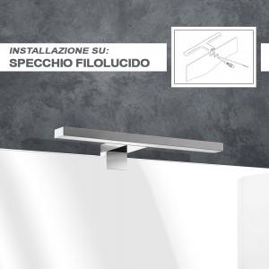 Lampada LED Universale per Specchio su Pannello da 30 cm in abs Cromo