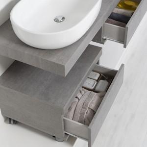 Cassettiera Su Ruote In Nobilitato Melaminico Colore Cemento Feridras - 6