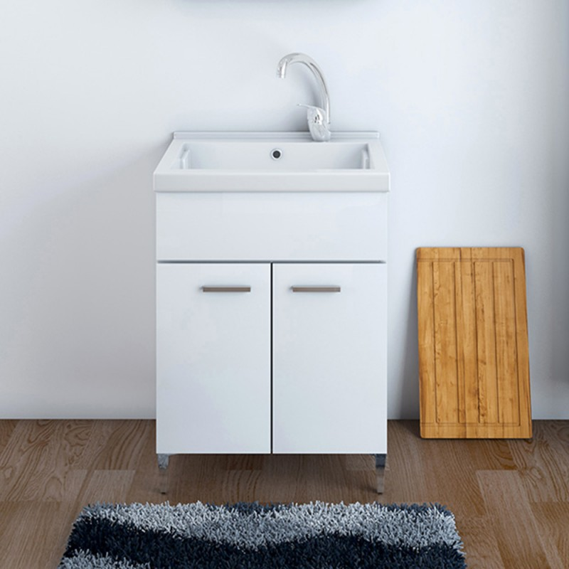 Mobile Lavatoio 60x50 cm Due Ante con vasca in ceramica Bianco Lucido