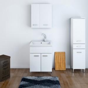 lavanderia con Mobile Lavatoio 60x40 cm Due Ante con Vasca Bianco Lucido