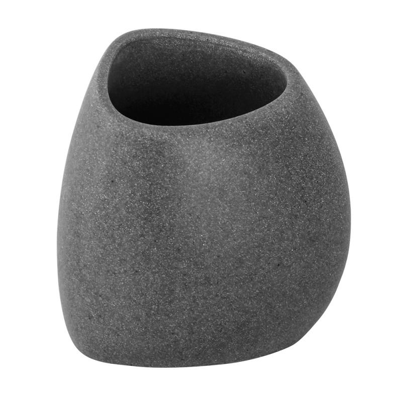 Portaspazzolino in Poliresina Effetto Pietra Grigio Linea Stone