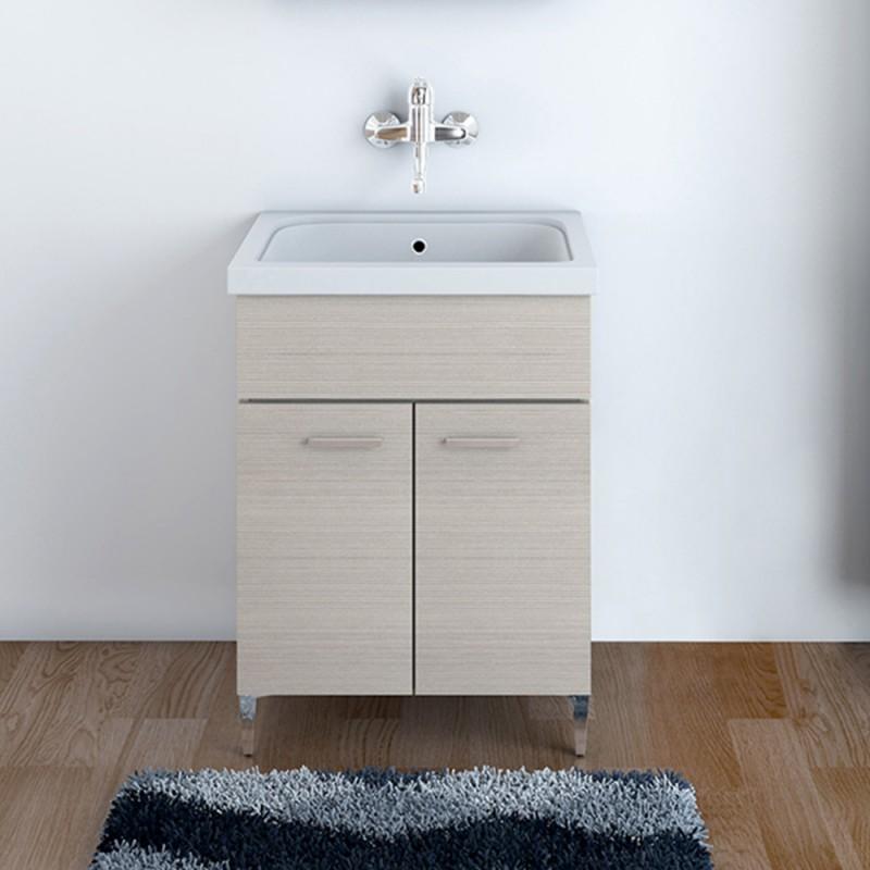 Mobile Lavatoio Larice 60x50 cm con vasca in Ceramica e strofinatoio integrato