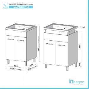 misure Mobile Lavatoio Larice 60x50 cm con Vasca e Strofinatoio Integrato