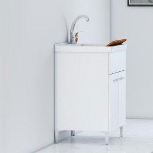 Lavatoio 60x40 cm Due Ante con Vasca Bianco Lucido