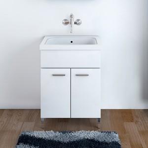 Mobile Lavatoio Bianco Lucido 60x50 cm con Vasca e Strofinatoio integrato