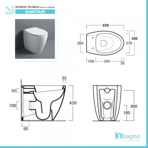 Sanitari Filomuro con Wc Copriwc Flat e Bidet Modello LTF di Simas Simas - 3