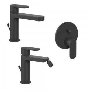 Miscelatore nero opaco per lavabo bidet e doccia incasso con deviatore Inbagno - 2