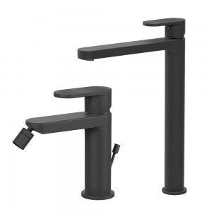 Composizione Miscelatori in ottone nero opaco lavabo alto + bidet Inbagno - 7